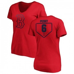 Women's Johnny Pesky Boston Red Sox RBI Slim Fit V-Neck T-Shirt - Red